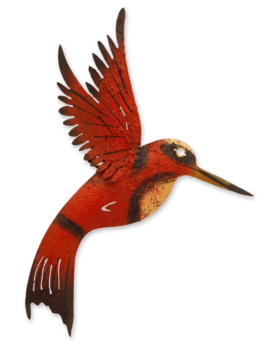 Unique Red Bird Wall Art Steel Sculpture From Mexico - Little Ruby with regard to Current Hummingbird Metal Wall Art