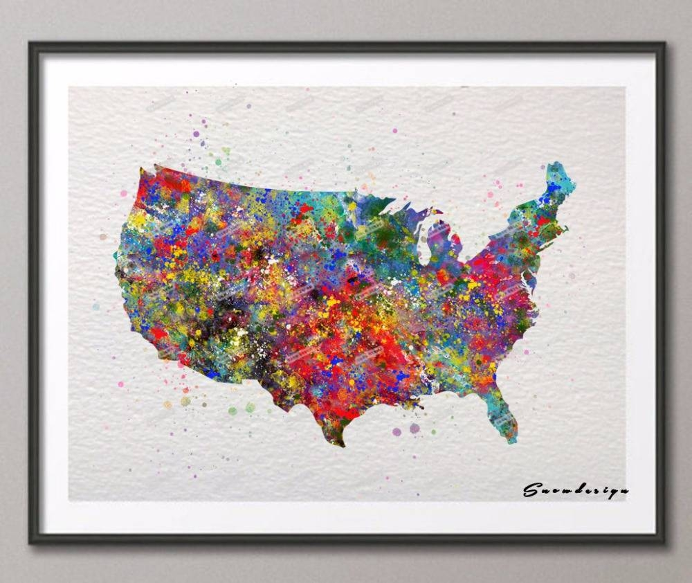 United States Map Home Decor United States Of America Personalized Pertaining To Recent State Map Wall Art (View 14 of 20)