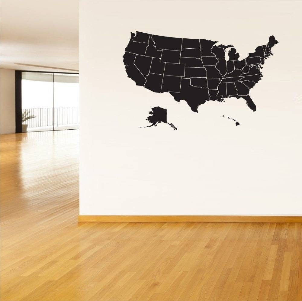 United States Map Wall Mural Usa Map Wall Sticker United States Of In Latest Usa Map Wall Art (View 10 of 20)