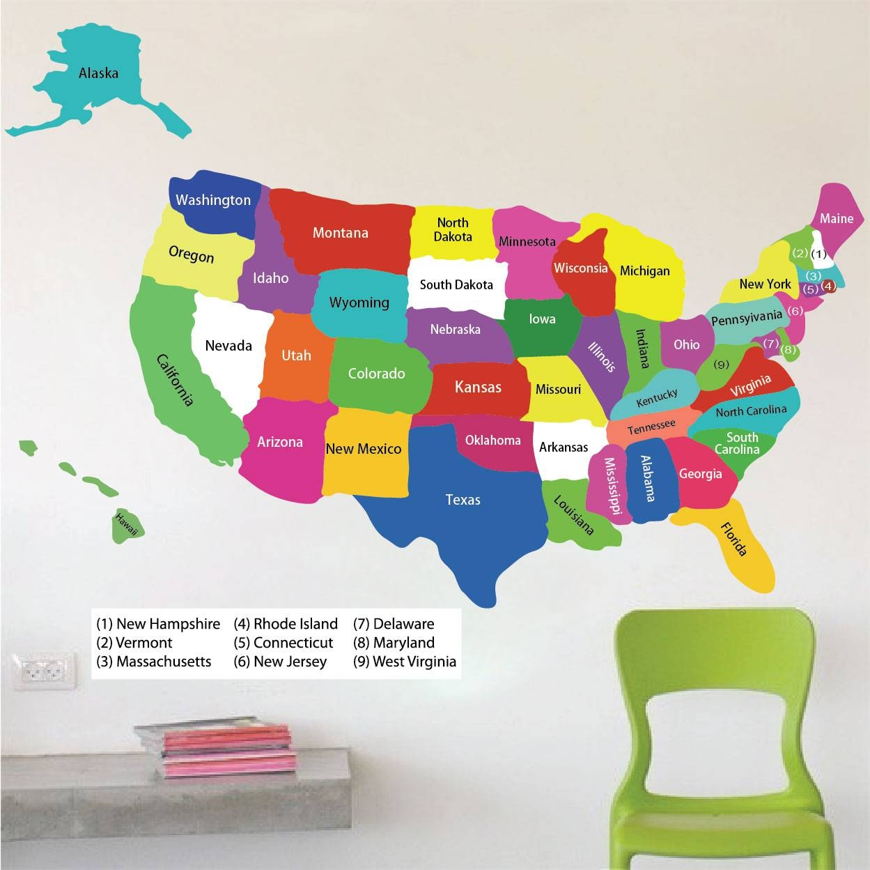 United States Map Wall Mural Usa Map Wall Sticker United States Of pertaining to Most Up-to-Date State Map Wall Art