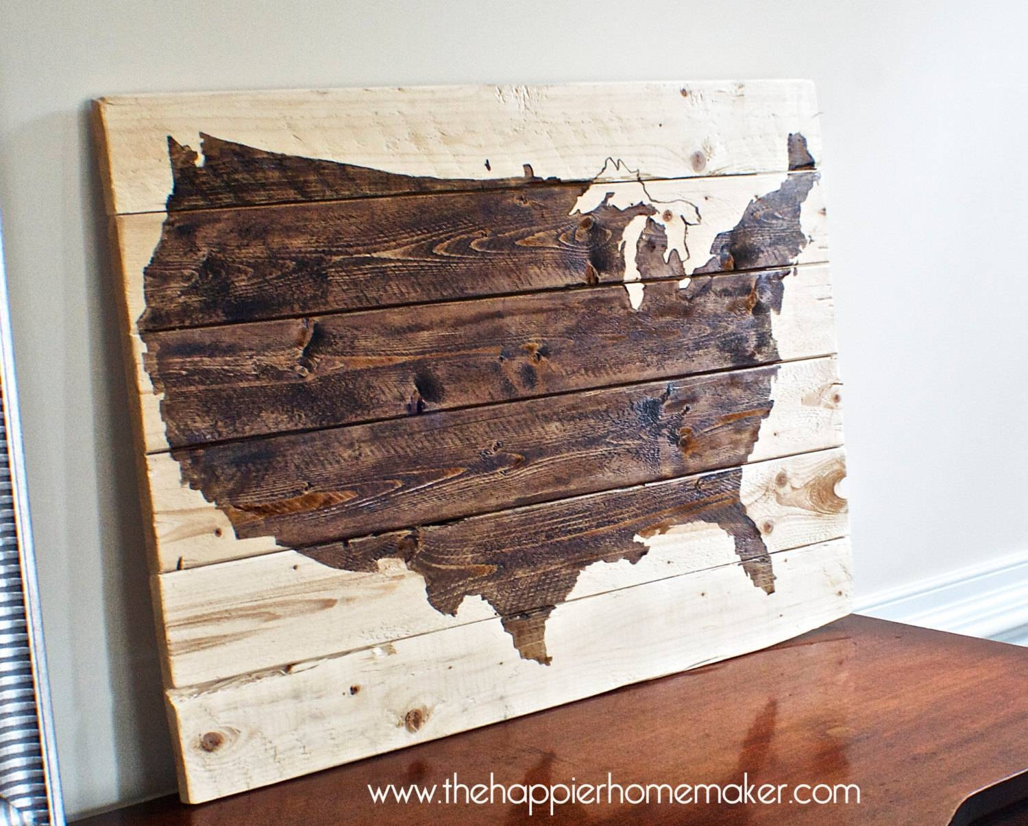 Us Map Canvas Wall Art Wooden United States Map Wall Art United Throughout Recent Cool Map Wall Art (View 9 of 20)