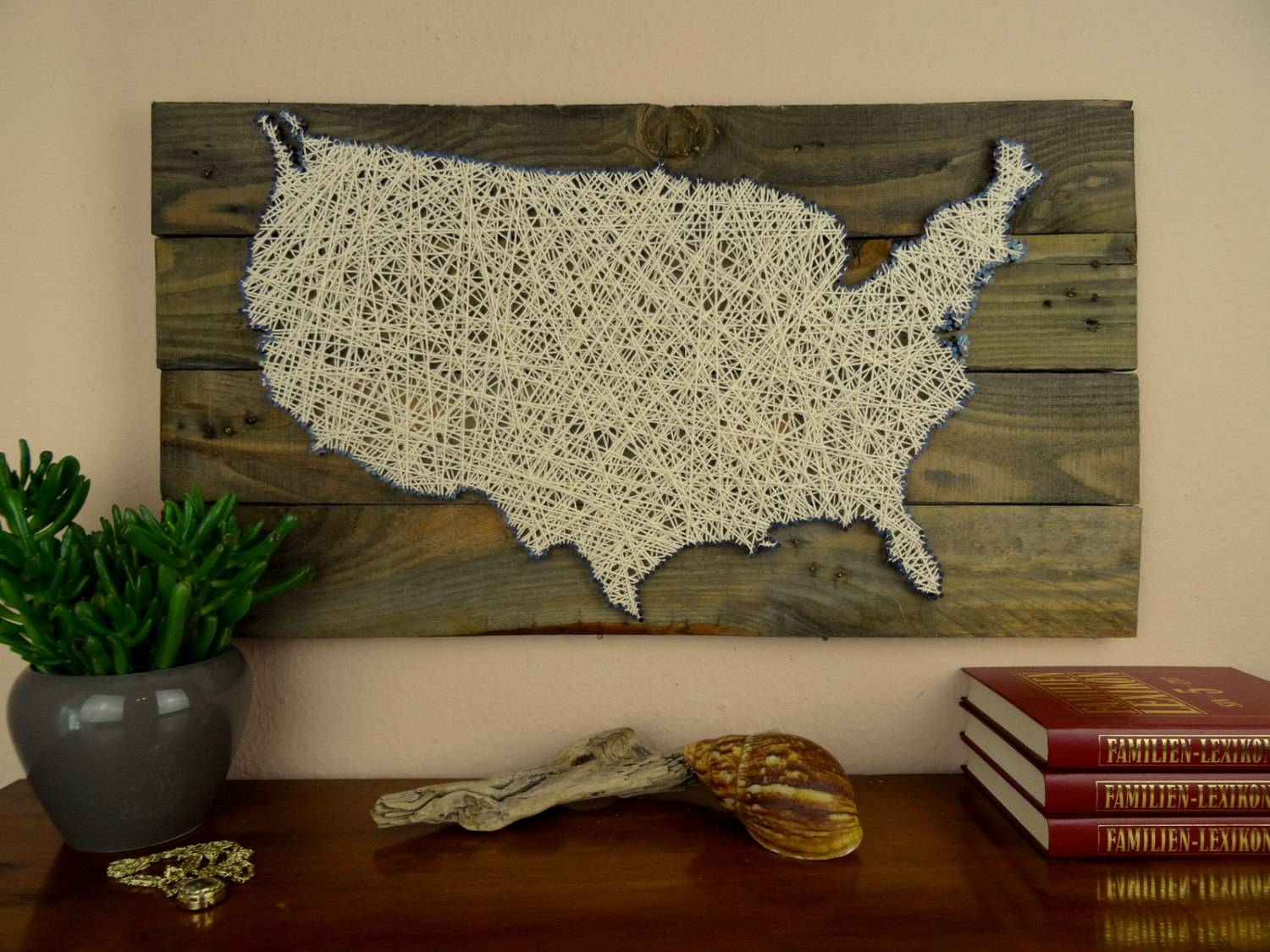 Usa Map String Art Reclaimed Wood Shabby Chic Wedding Pertaining To 2018 Usa Map Wall Art (View 13 of 20)