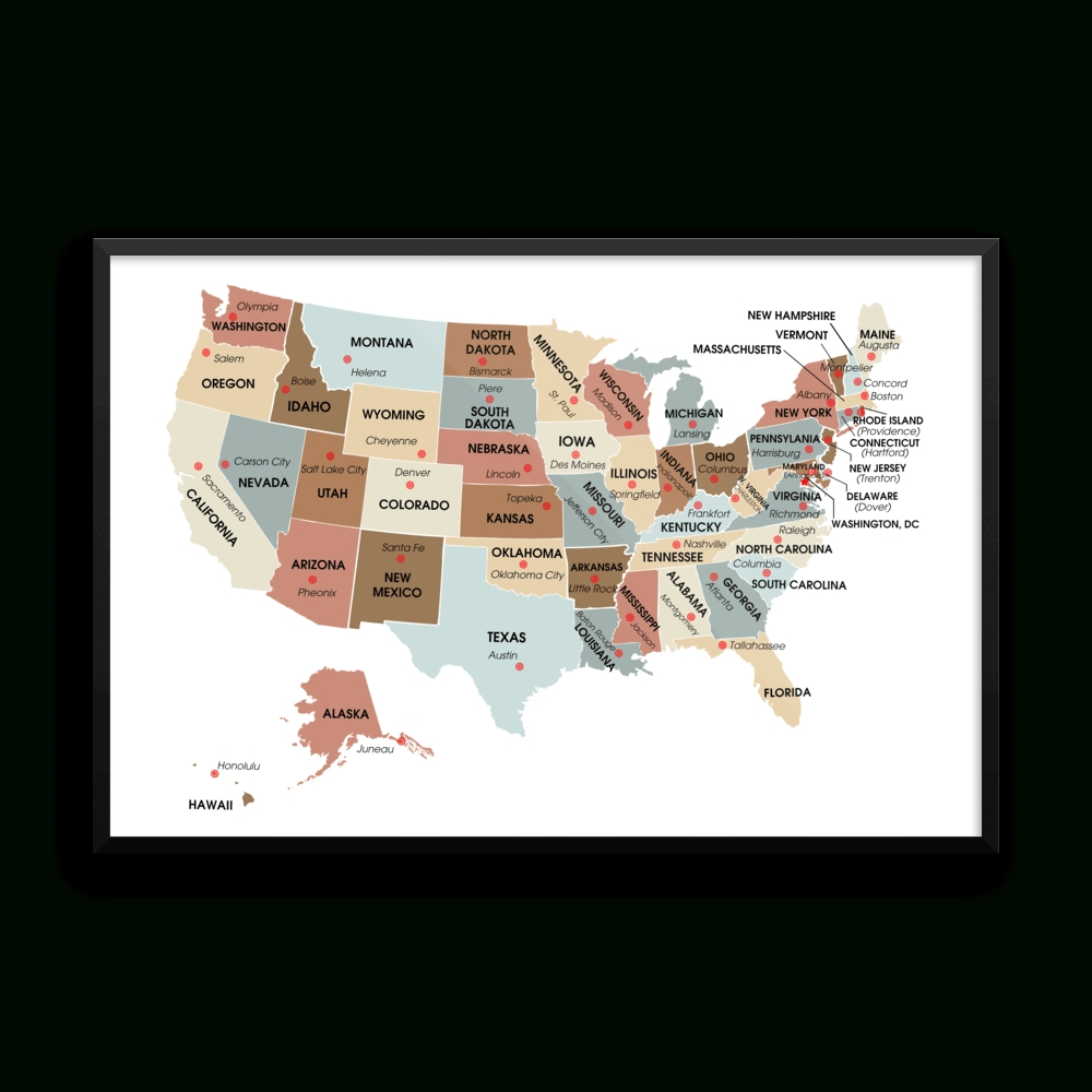 Usa Map With State Capitals Wall Art Print | The Pixel Prince Throughout Newest Florida Map Wall Art (Gallery 10 of 20)
