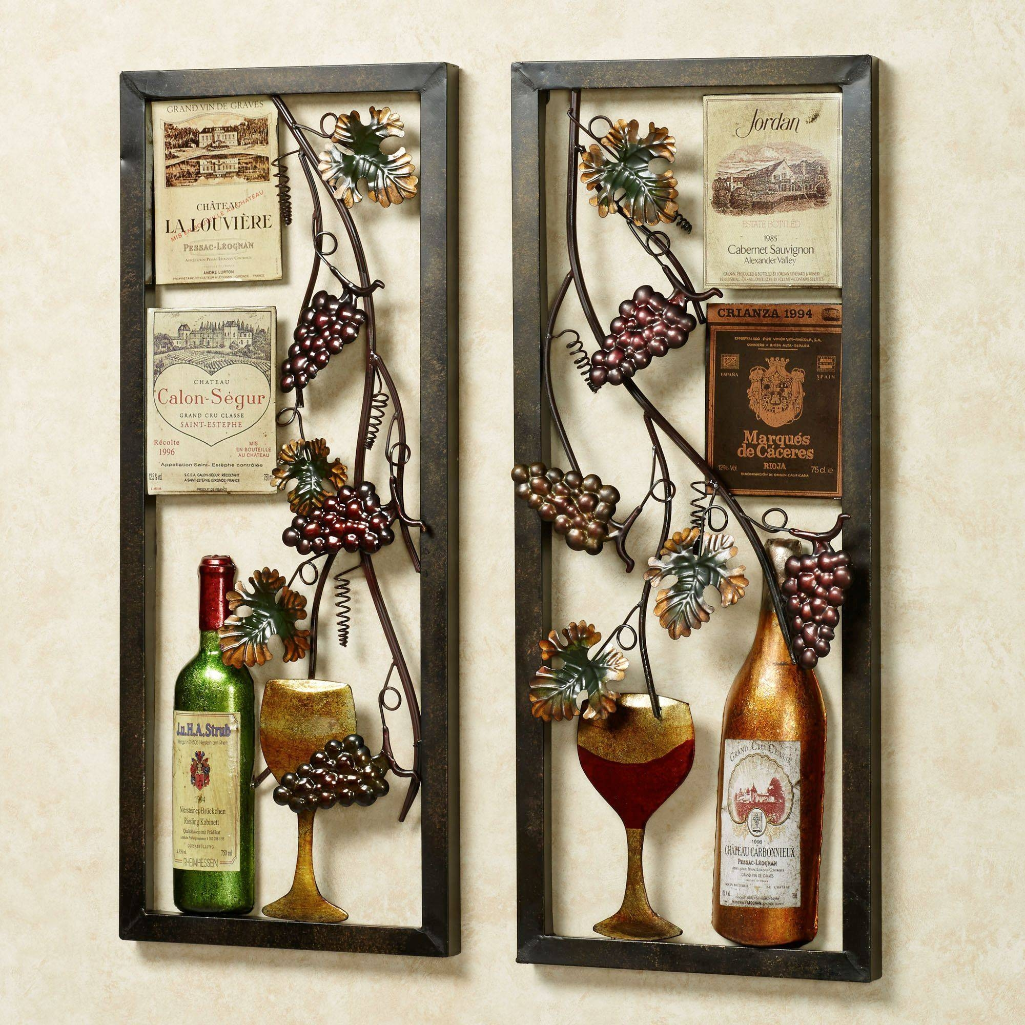 Valley Vineyard Metal Wall Art Set Regarding Current Wine Bottle Metal Wall Art (View 8 of 20)