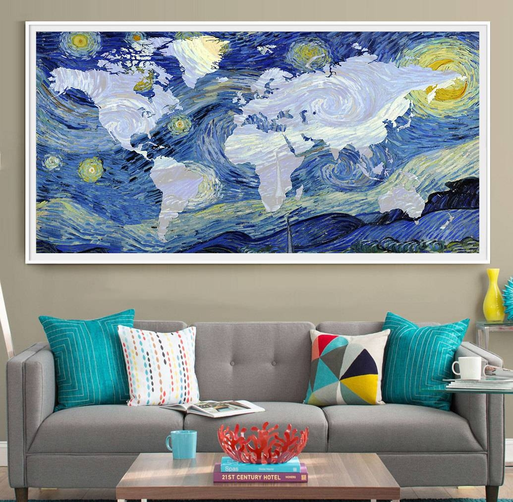 Van Gogh World Map Poster Print Extra Large Map Wall Art throughout Most Recently Released Large Map Wall Art