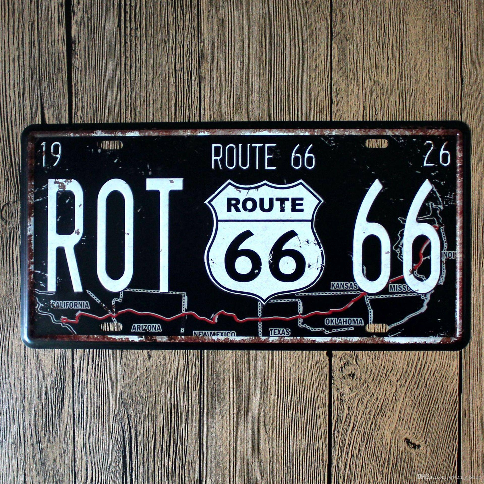 Vintage Famous Usa Route 66 Mother Road Plate Vintage Metal Signs With Newest Retro Metal Wall Art (Gallery 19 of 20)