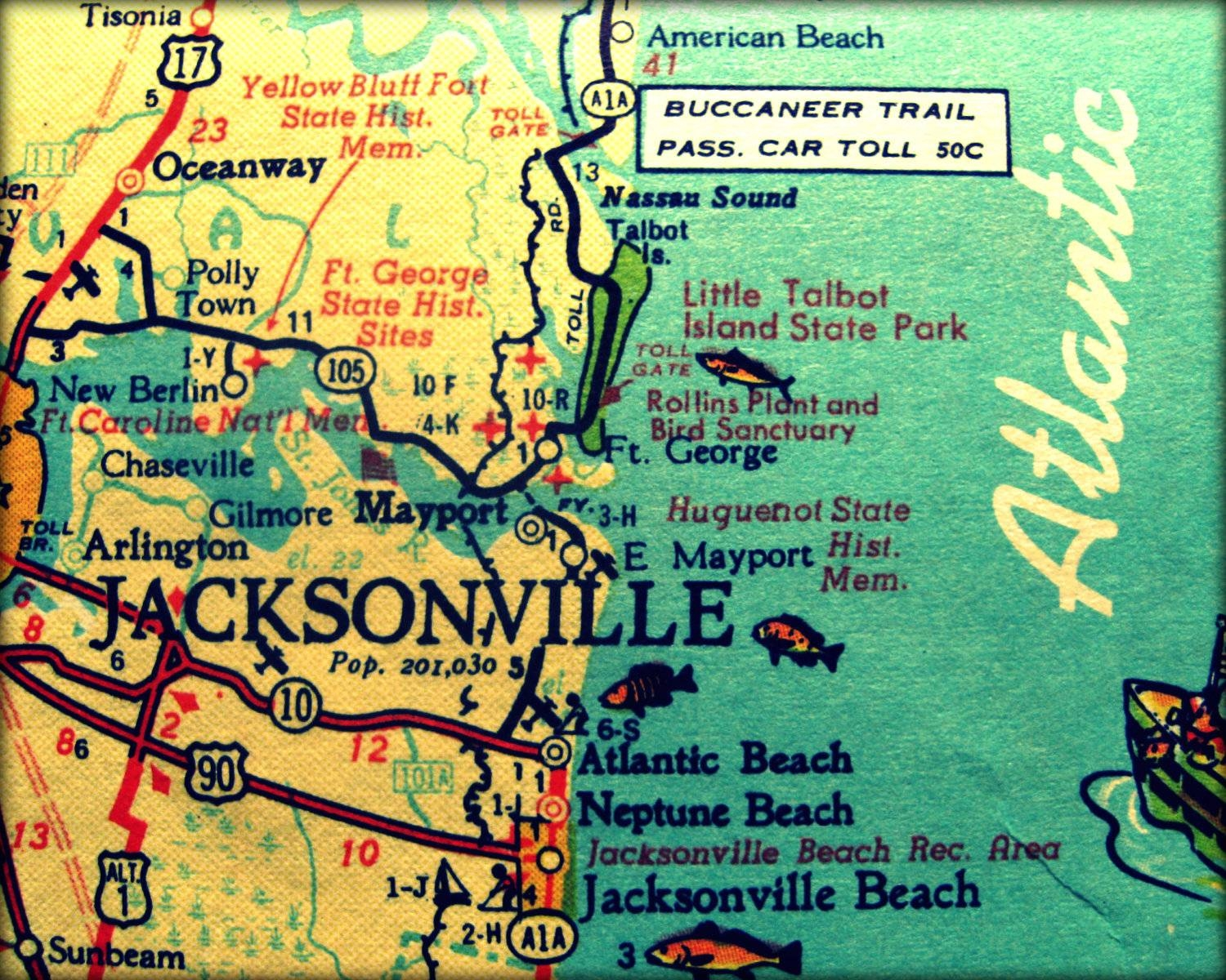 Vintage Map Jacksonville Retro Florida Photograph Print 8X10 throughout Best and Newest Florida Map Wall Art