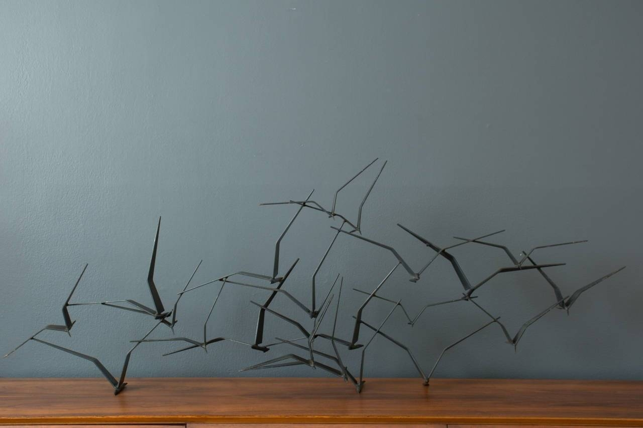 Vintage Mid-Century 'birds In Flight' Metal Wall Sculpture Signed in Most Popular Mid Century Metal Wall Art