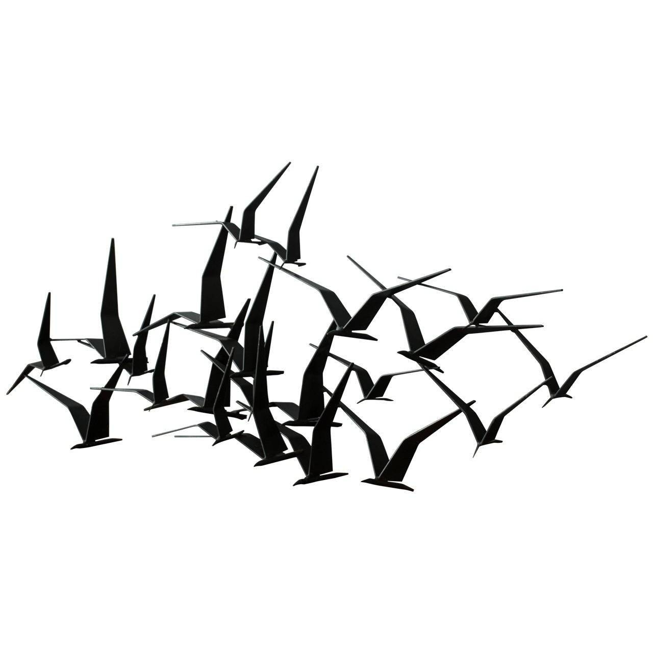 Vintage Mid Century 'birds In Flight' Metal Wall Sculpture Signed With Regard To Best And Newest Metal Wall Art Birds (Gallery 4 of 20)