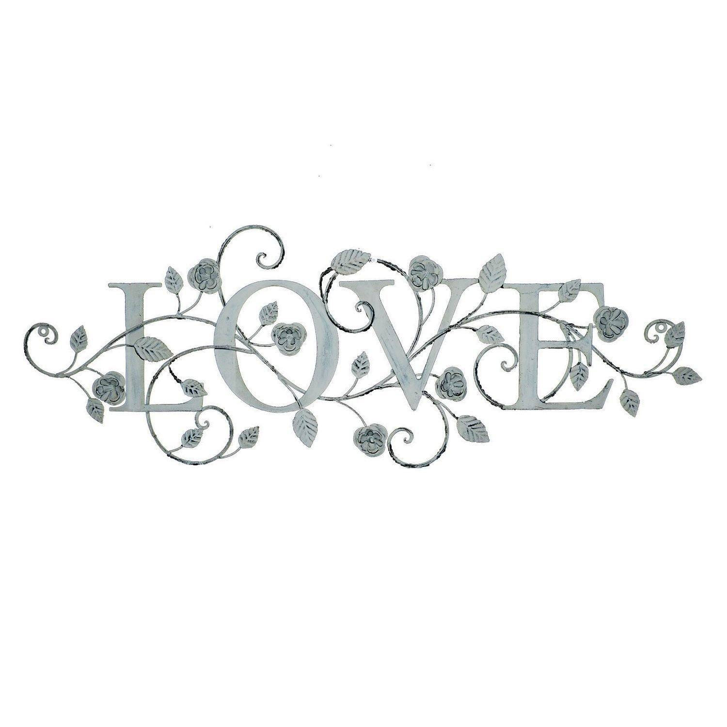 Vintage Rose Metal Wall Art Love Sign | Decorcave within Recent Love Metal Wall Art