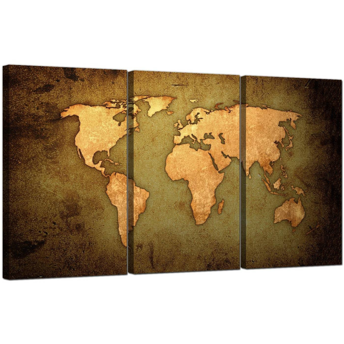 Vintage World Map Canvas Art Set Of Three For Your Study In Pertaining To Most Current World Map Wall Art Canvas (View 15 of 20)