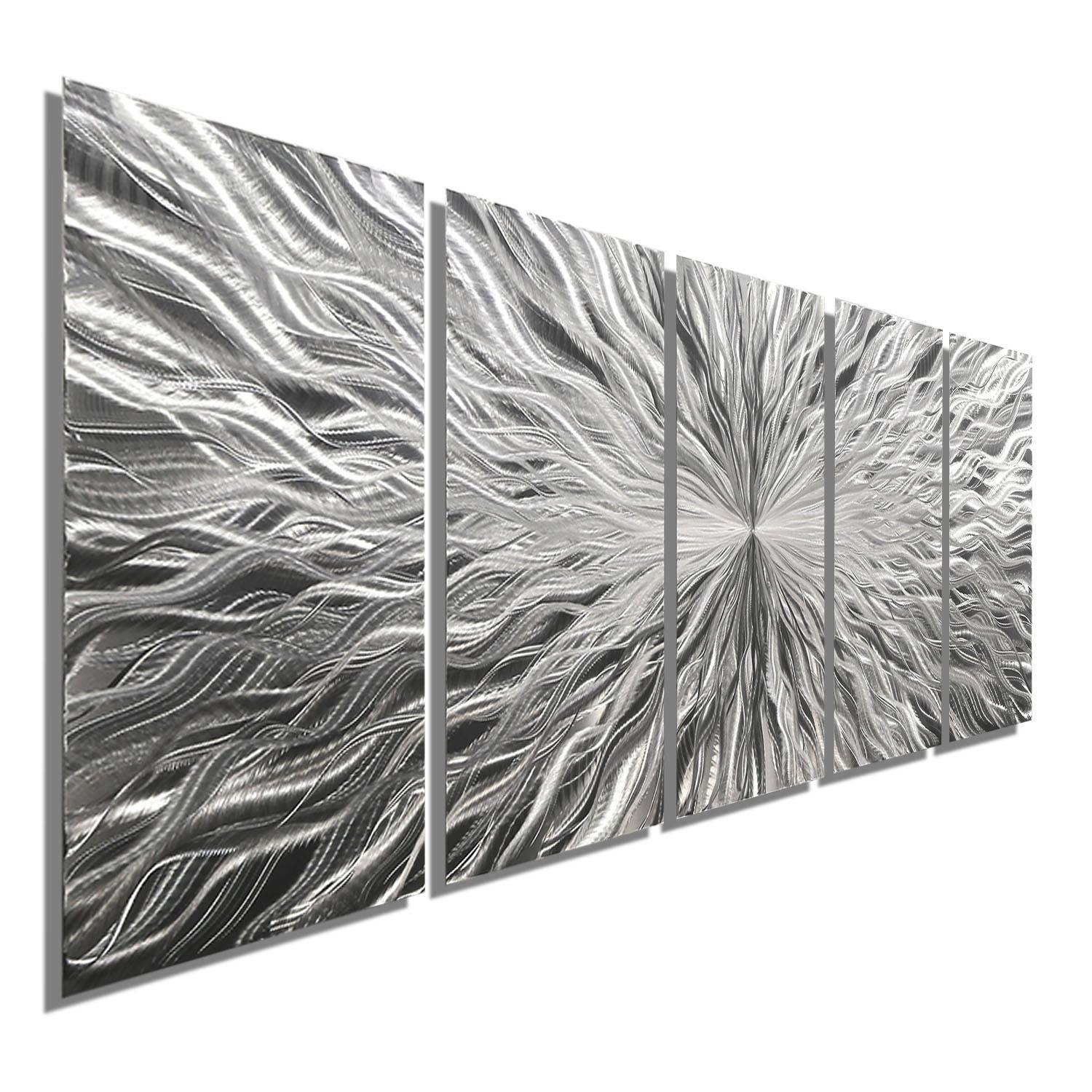 Vortex 5 – Five Panel Silver Modern Abstract Metal Wall Artjon With Most Recent White Metal Wall Art (Gallery 8 of 20)