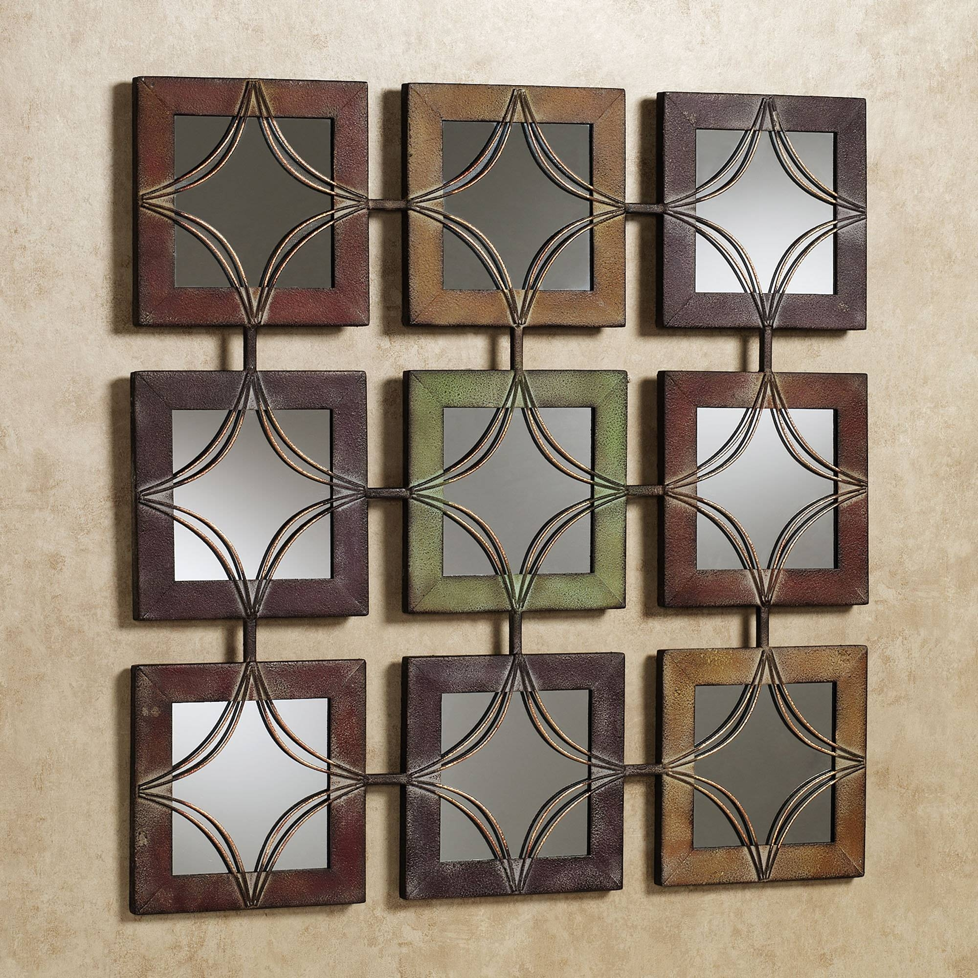 Wall Art Decor: Domini Metal Mirrored Wall Art Textured Square Pertaining To Most Up To Date Square Metal Wall Art (View 5 of 20)