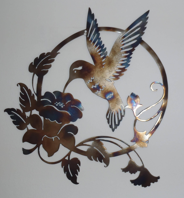 Wall Art Decor Ideas: Hummingbird And Flower Sign Nature Metal Inside Most Recent Nature Metal Wall Art (View 2 of 20)