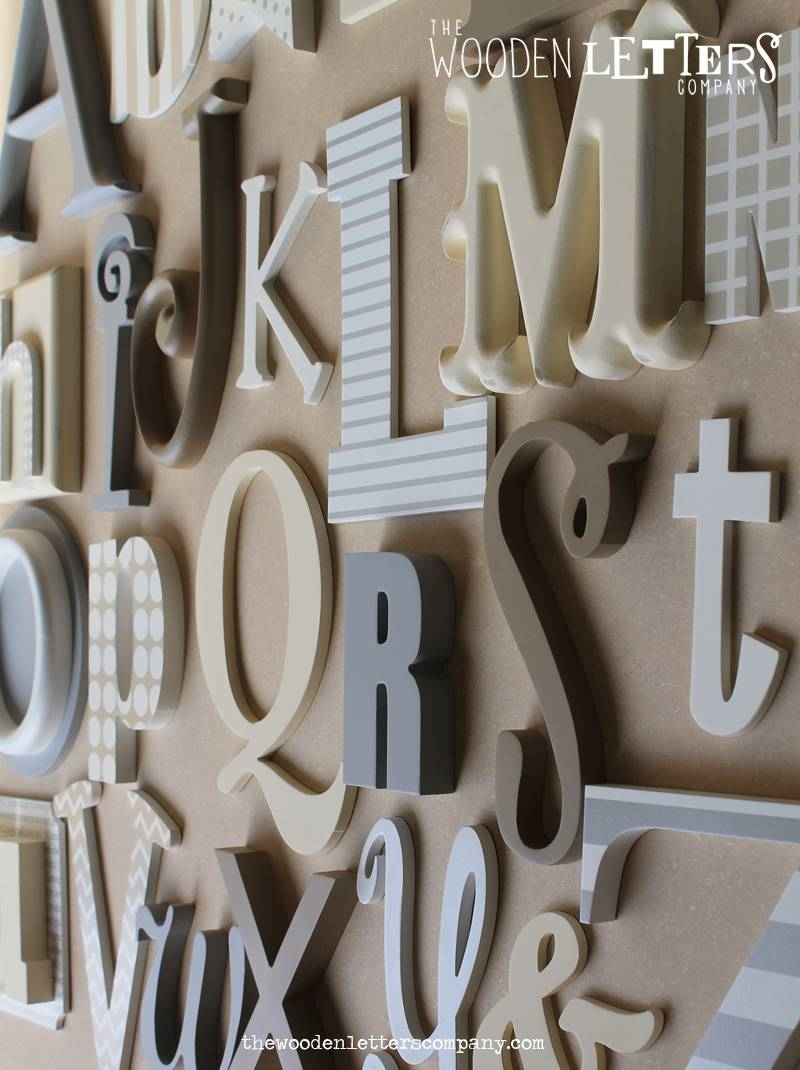 Wall Art Design Ideas: Alphabet Grey Letters For Wall Art Handmade With Most Recently Released Metal Wall Art Letters (View 18 of 20)