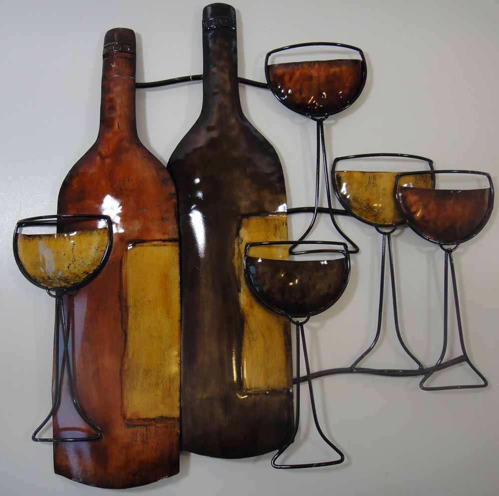 Wall Art Design Ideas: Brown Bottle Wine Metal Wall Art Drinking Regarding Current Wine Bottle Metal Wall Art (View 11 of 20)
