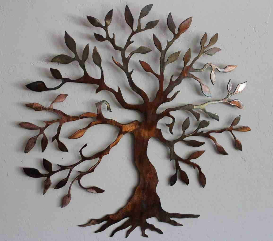 Wall Art Design Ideas: Brown Tree Outdoor Metal Wall Art Decor And Intended For Most Recent Green Metal Wall Art (View 18 of 20)