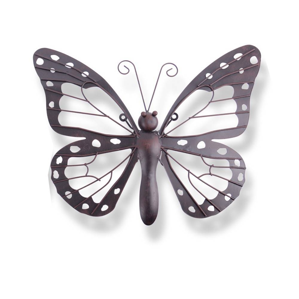 Wall Art Design Ideas: Decorative Black Brown Outdoor Metal For Most Up To Date Butterfly Garden Metal Wall Art (View 11 of 20)
