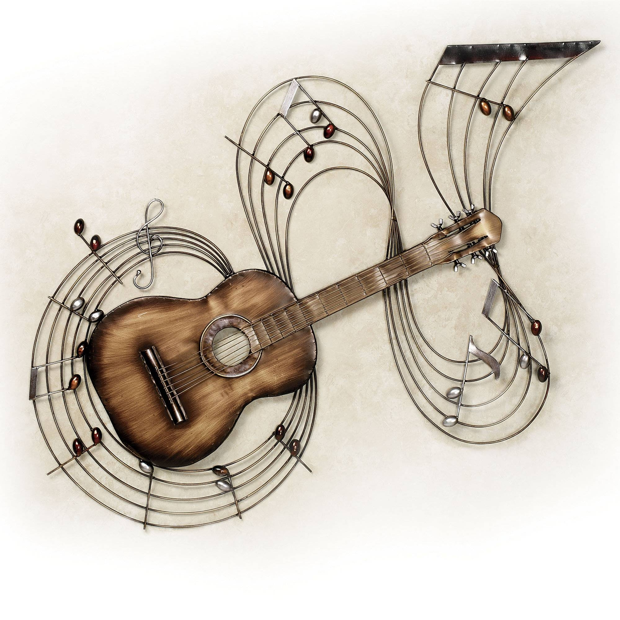 Wall Art Design Ideas: Guitar Unique Music Wall Art Metal Design For Most Current Brushed Metal Wall Art (View 11 of 20)