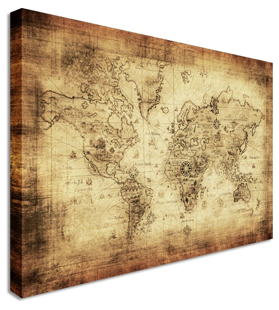 Wall Art Design Ideas: Large Classic Vintage World Map Wall Art With Regard To 2017 Canvas Map Wall Art (View 15 of 20)