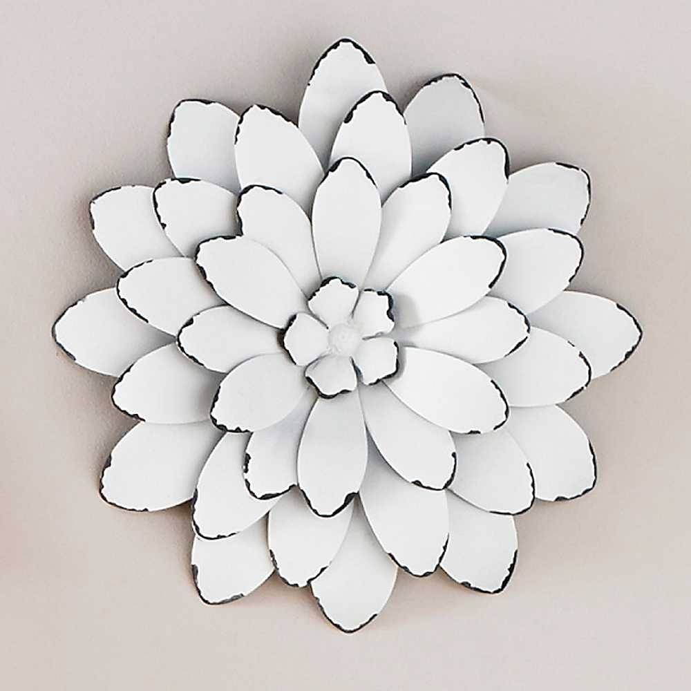 Wall Art Design Ideas: White Beautiful Large Metal Flower Wall Art Throughout Most Recent Flower Metal Wall Art (View 4 of 20)