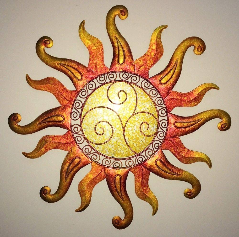 Wall Art Design Ideas: Yellow Circle Sun Wall Art Decorations Regarding Recent Outdoor Metal Wall Art Decor And Sculptures (View 17 of 20)