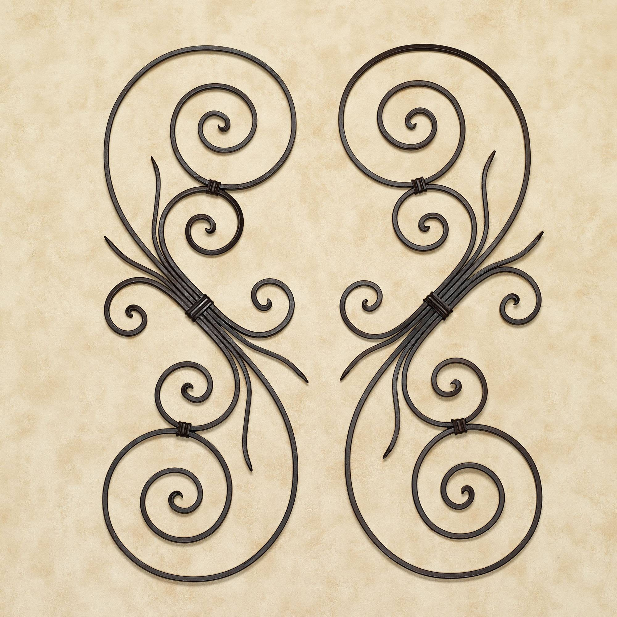 Wall Art Design Ideas: Yellow La Wrought Iron Scroll Wall Art Regarding Most Recent Scrolled Metal Wall Art (View 17 of 20)