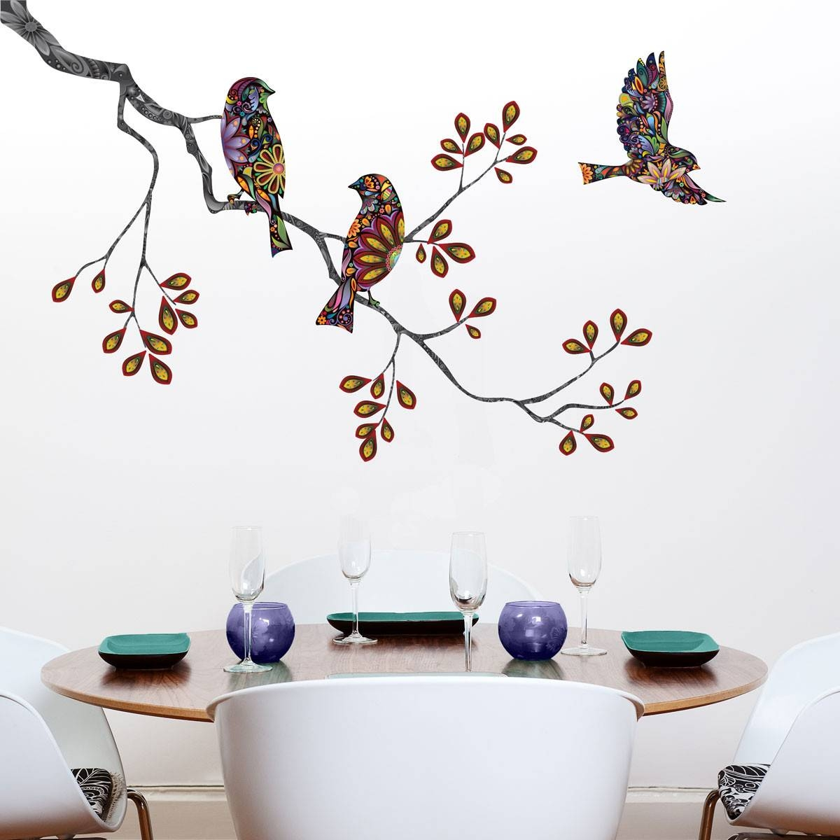 Wall Art Designs: Bird Wall Art Birds And Tree Branch Wall Sticker Regarding Most Recent Birds On A Branch Metal Wall Art (View 12 of 20)