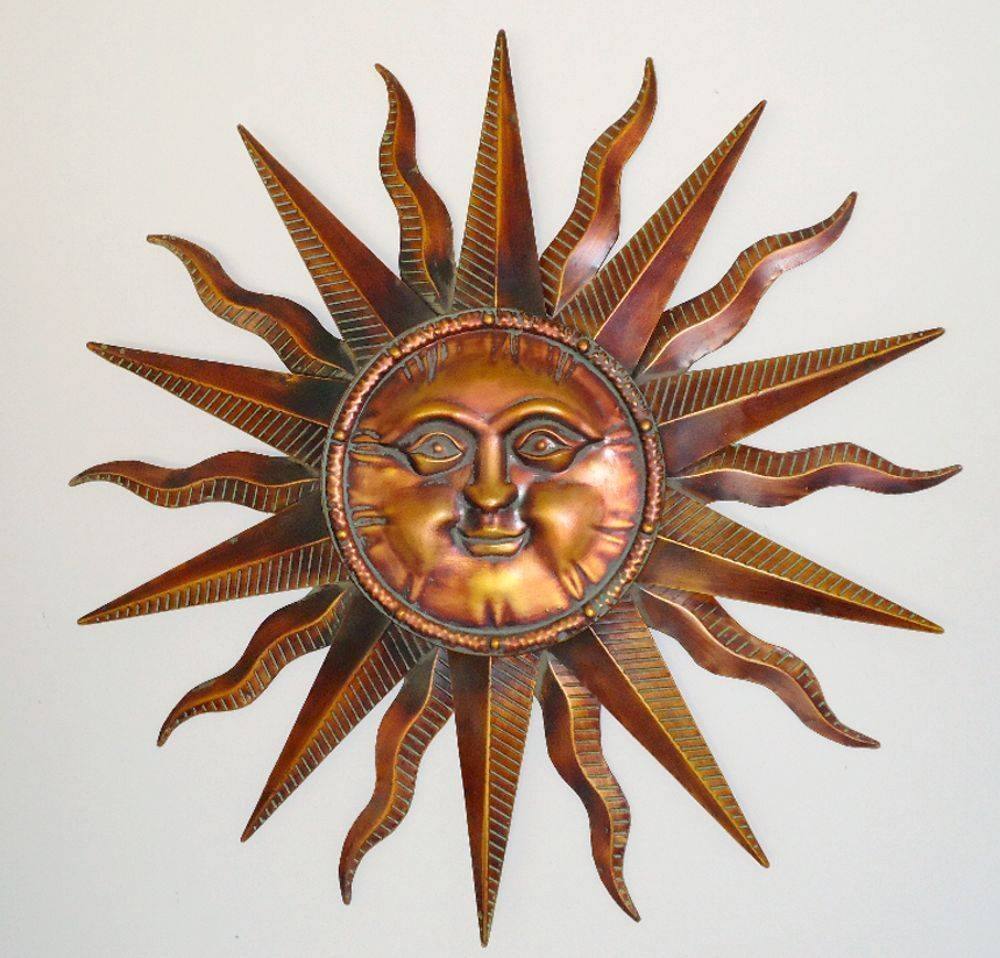 Wall Art Designs: Metal Sun Wall Art Copper Patina Sun Face Extra In Most Up To Date Sunburst Metal Wall Art (View 15 of 20)