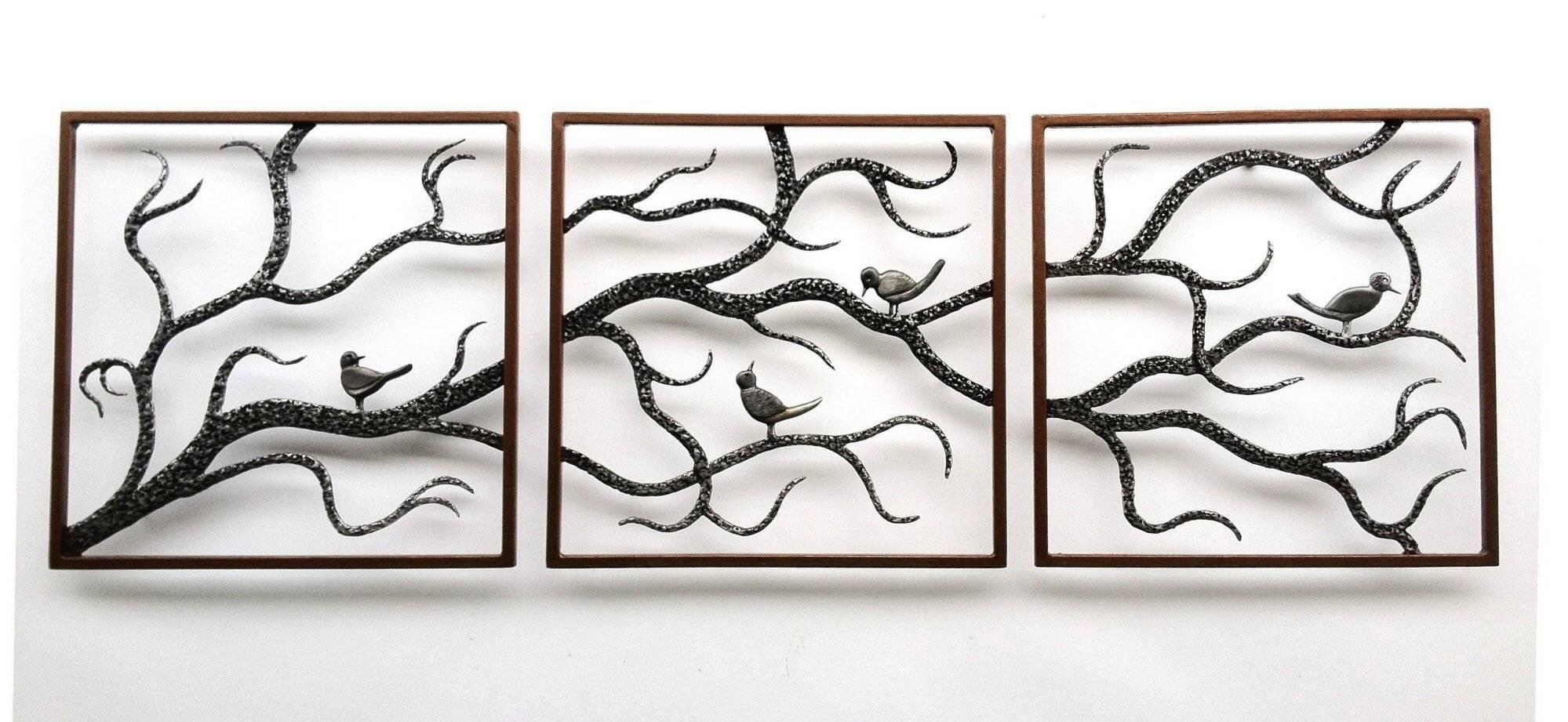 Wall Art Designs: Metal Wall Art Trees Birch Three Framed Cute Regarding Most Current Bird Metal Wall Art (View 15 of 20)