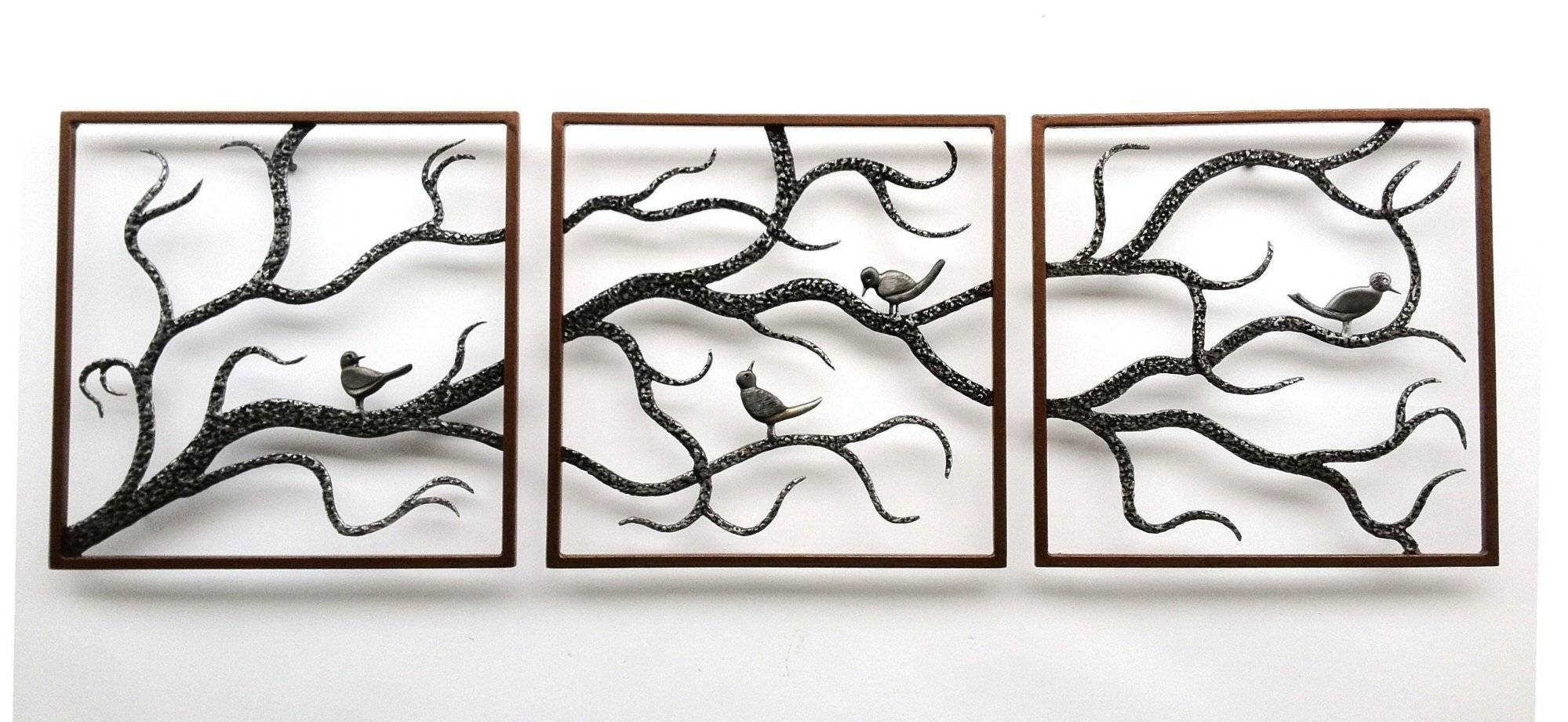 Wall Art Designs: Metal Wall Art Trees Birch Three Framed Cute Regarding  Most Up To