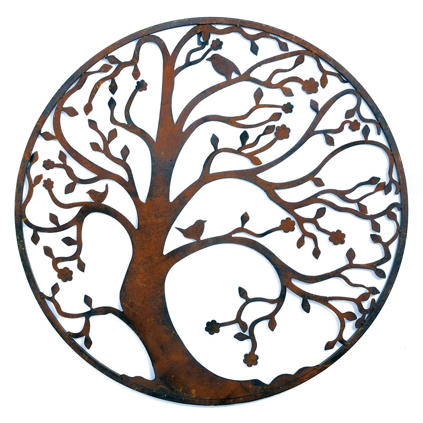 Wall Art Designs: Rusted Classic Design Tree Leaf Branch Birds Regarding Latest Round Metal Wall Art (View 9 of 20)