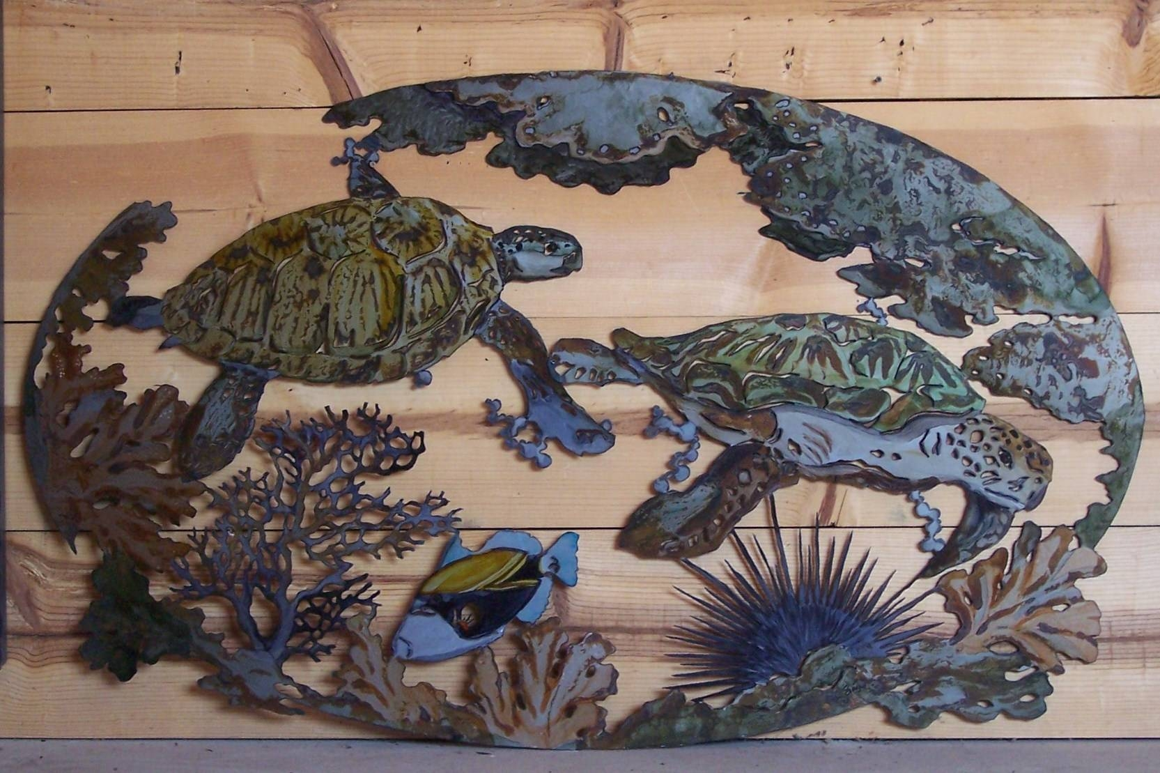 Wall Art Designs: Sea Turtle Wall Art Underwater Fish Coral Throughout Best And Newest Sea Turtle Metal Wall Art (View 1 of 20)