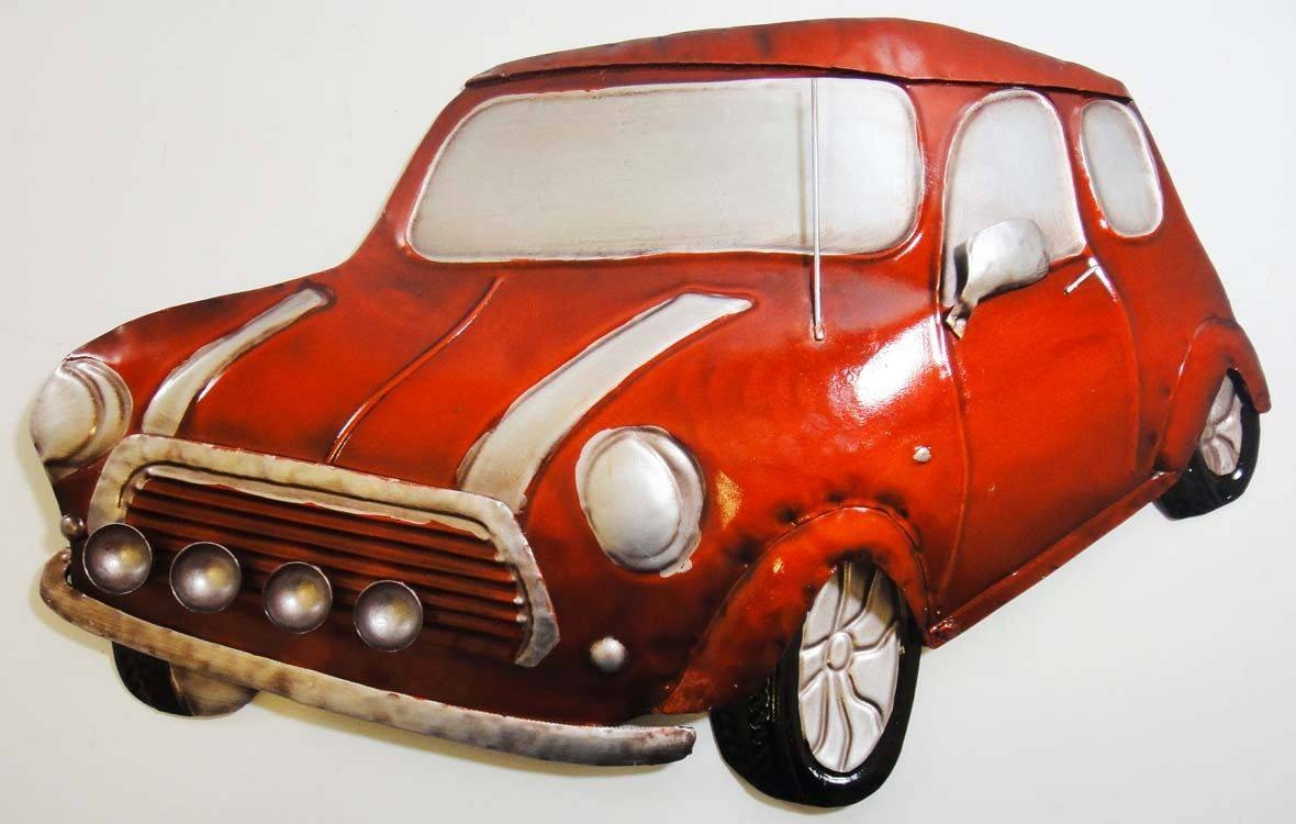 Wall Art – Metal Wall Art Picture – Red Classic Mini Car | Ebay Intended For Latest Car Metal Wall Art (View 7 of 20)