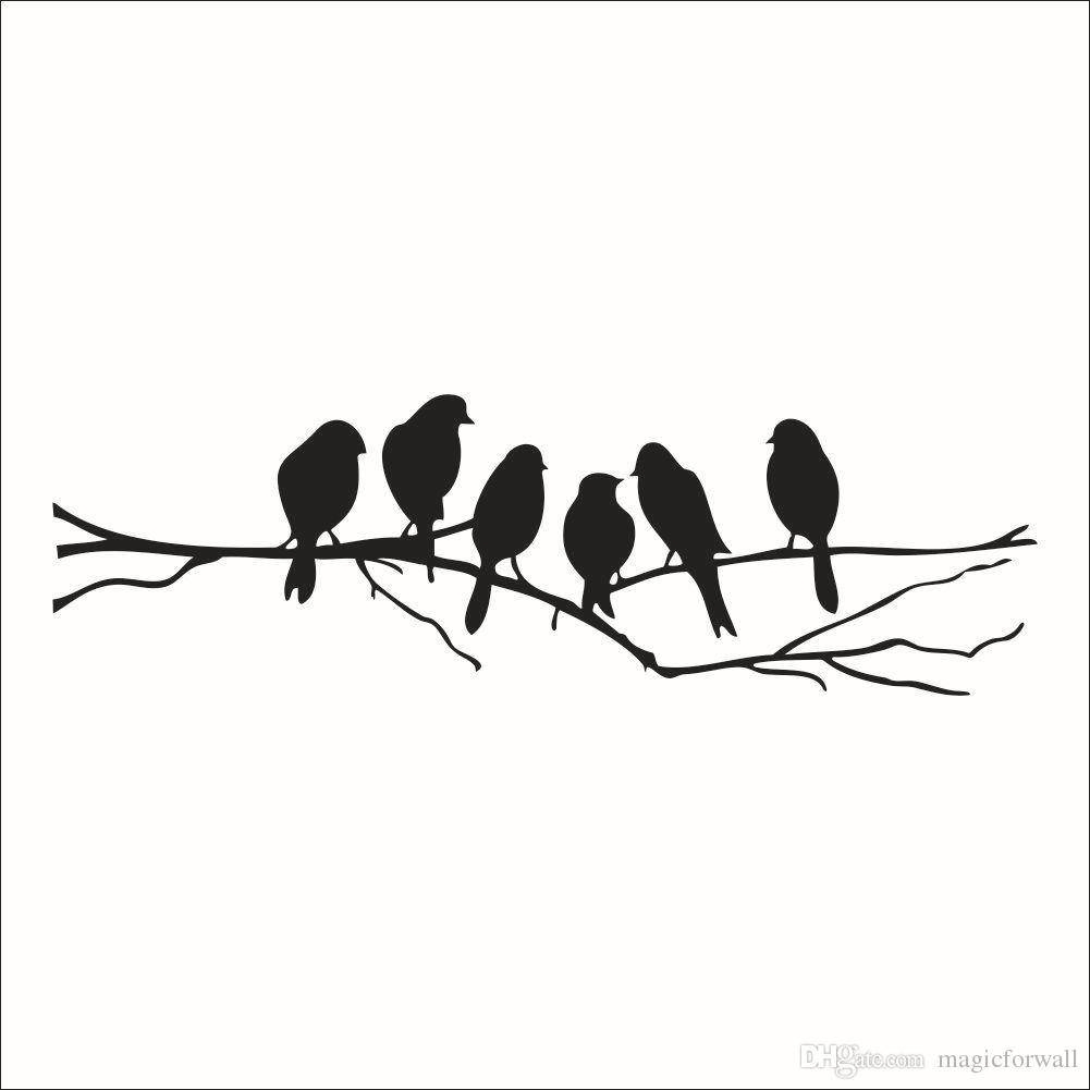 Wall Art Mural Decor Sticker Black Cute Birds On The Branch Wall Inside Recent Birds On A Branch Metal Wall Art (View 3 of 20)