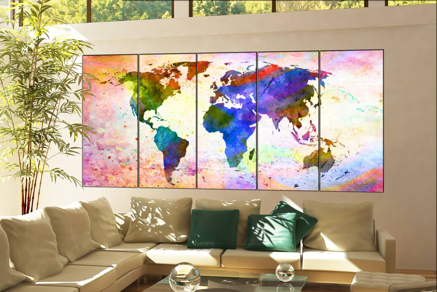 Wall Art World Map Print On Canvas Wall Art Wall Art World Map Within Current World Map Wall Artwork (View 6 of 20)