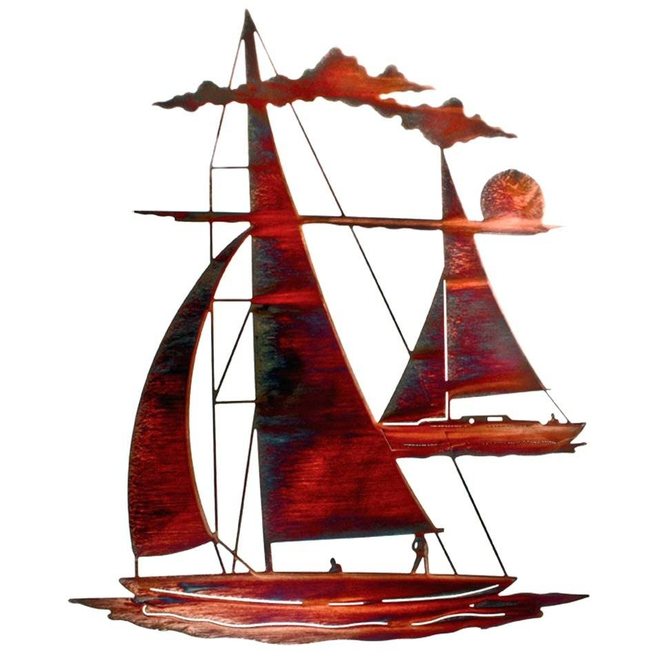 Wall Arts ~ 24 Catch N Sail Floating Sailboat Metal Wall Art Row Inside Latest Metal Wall Art Boats (View 7 of 20)