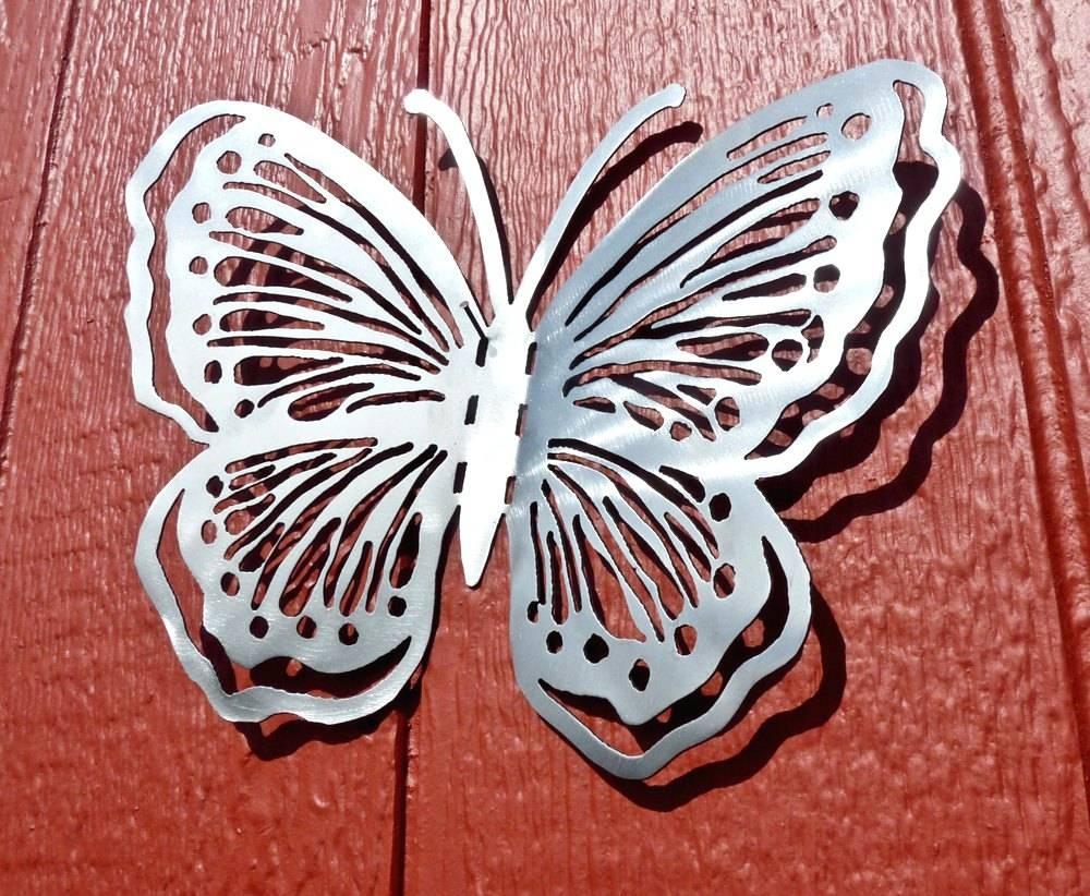 Wall Arts ~ 3D Butterfly Metal Outdoor Wall Art Grey Metal Inside Current Butterfly Garden Metal Wall Art (View 17 of 20)