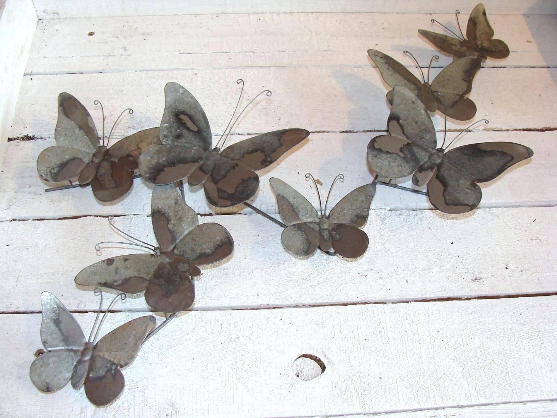 Wall Arts ~ 3D Butterfly Metal Outdoor Wall Art Grey Metal With Regard To 2018 Butterfly Garden Metal Wall Art (View 15 of 20)