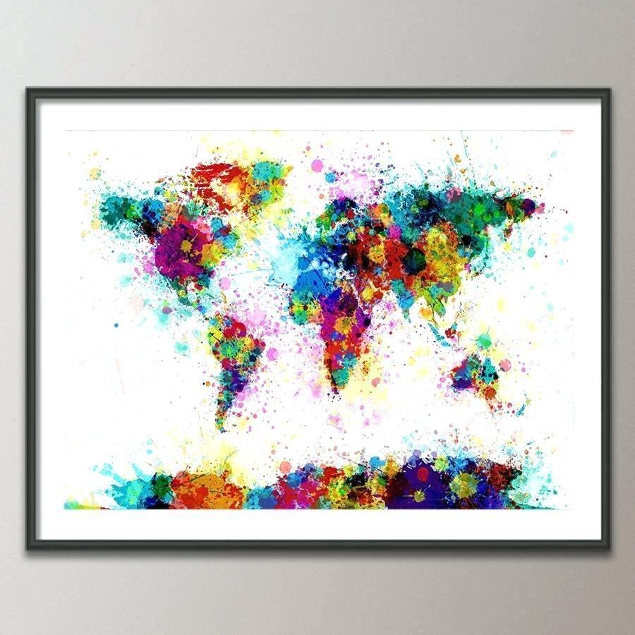 Wall Arts ~ Artpause Animal World Map Print Art World Map Wall Art Pertaining To 2018 World Map Wall Art Print (View 12 of 20)