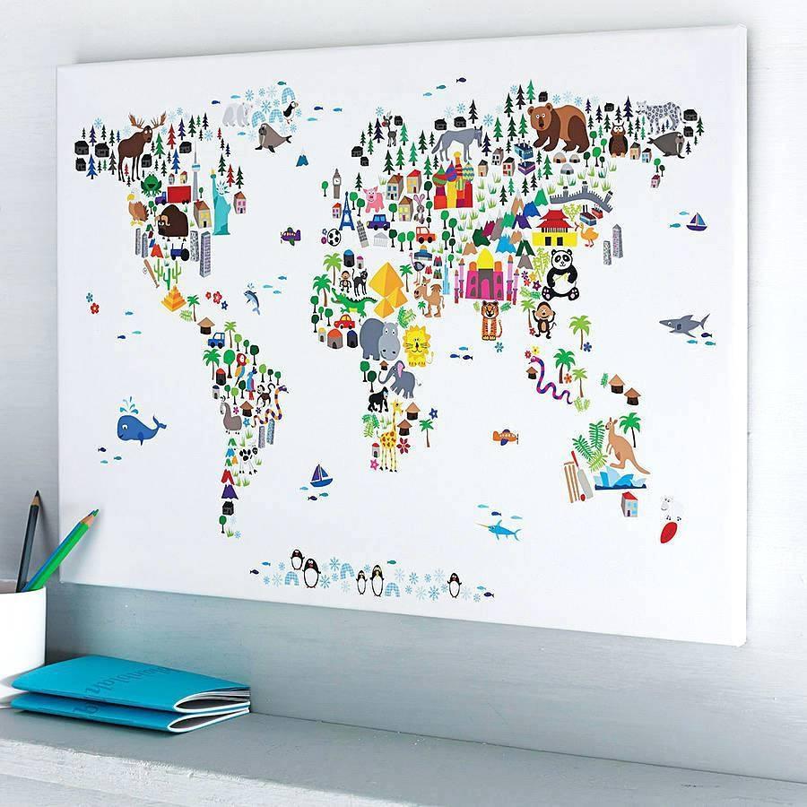 Wall Arts ~ Artpause Animal World Map Print Art World Map Wall Art Throughout Current World Map Wall Art Framed (View 9 of 20)