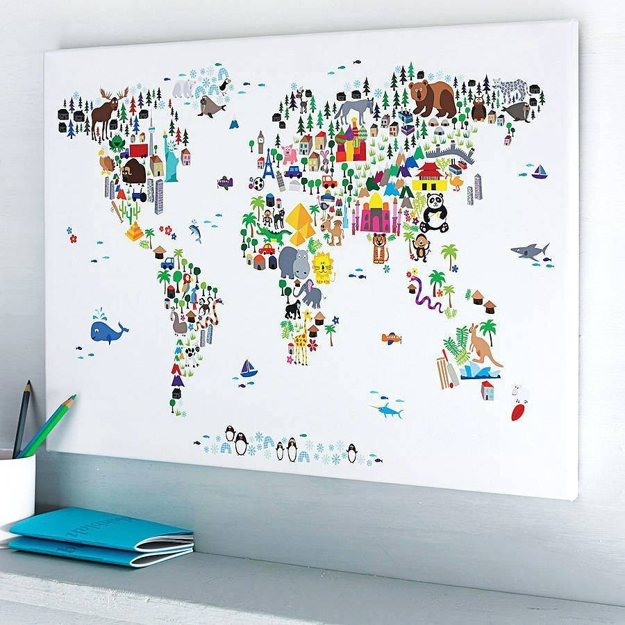 Wall Arts ~ Artpause Animal World Map Print Art World Map Wall Art With Regard To Latest Kids World Map Wall Art (View 13 of 20)