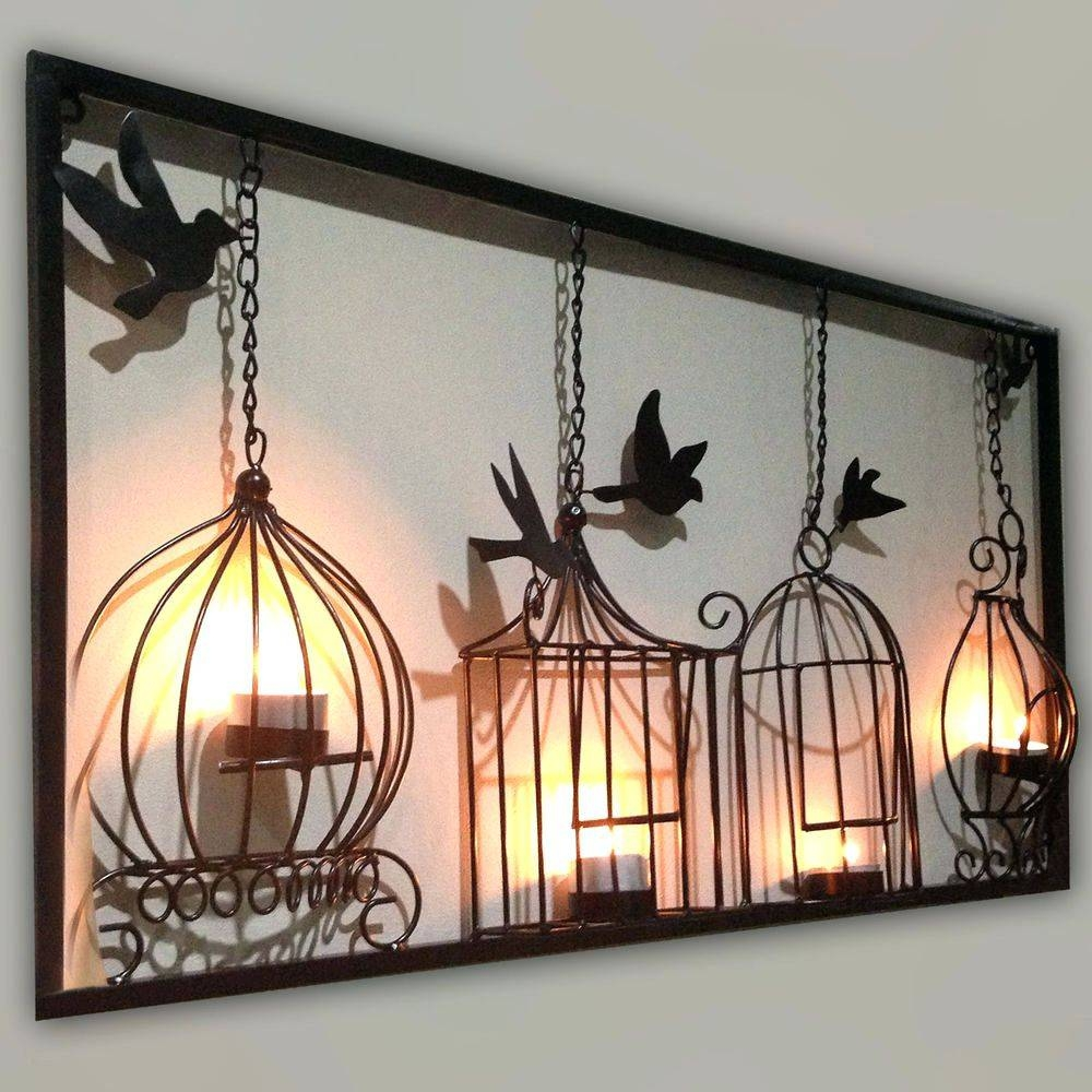 Wall Arts ~ Birdcage Tea Light Wall Art Metal Wall Hanging Candle For Most Recently Released Birds Metal Wall Art (Gallery 15 of 20)