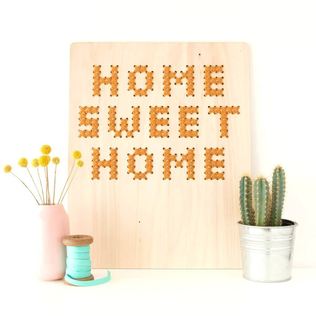 Wall Arts ~ Cactus Wall Art Home Sweet Home Cross Stitch Board Intended For Most Recent Home Sweet Home Metal Wall Art (View 11 of 20)