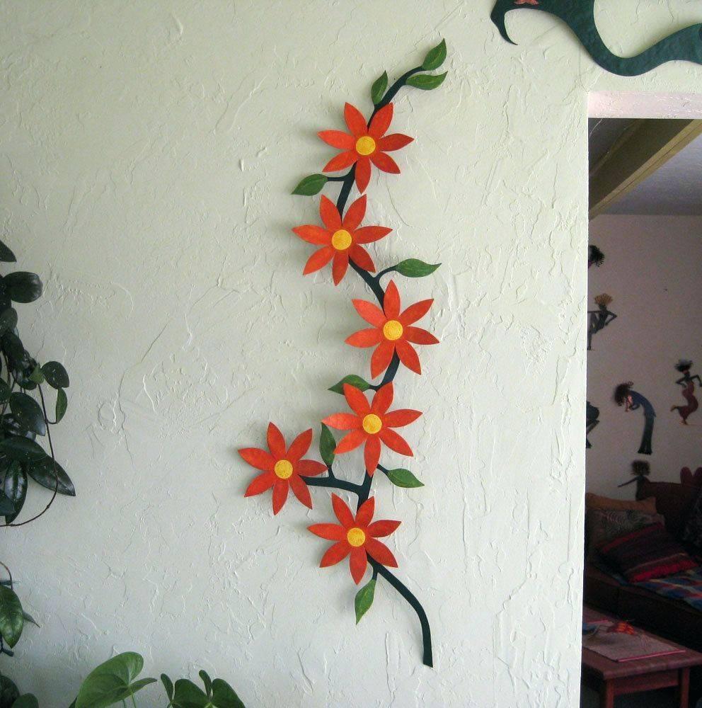 Wall Arts ~ Custom Made Metal Flower Sculpture Home Decor Wall Inside Recent Flower Metal Wall Art (View 16 of 20)