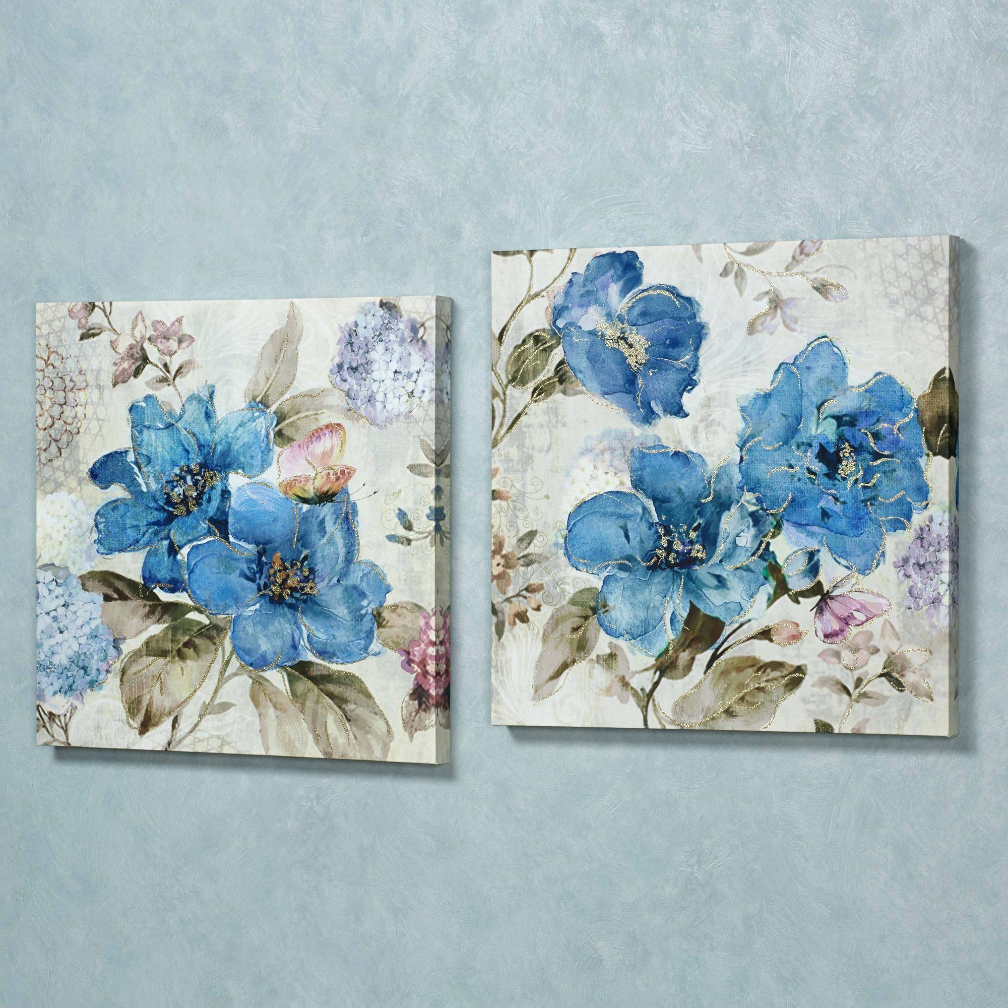 Wall Arts ~ Floral Delight Canvas Wall Art Medium Blue Set Of Two Intended For 2018 Blue Flower Metal Wall Art (View 8 of 20)