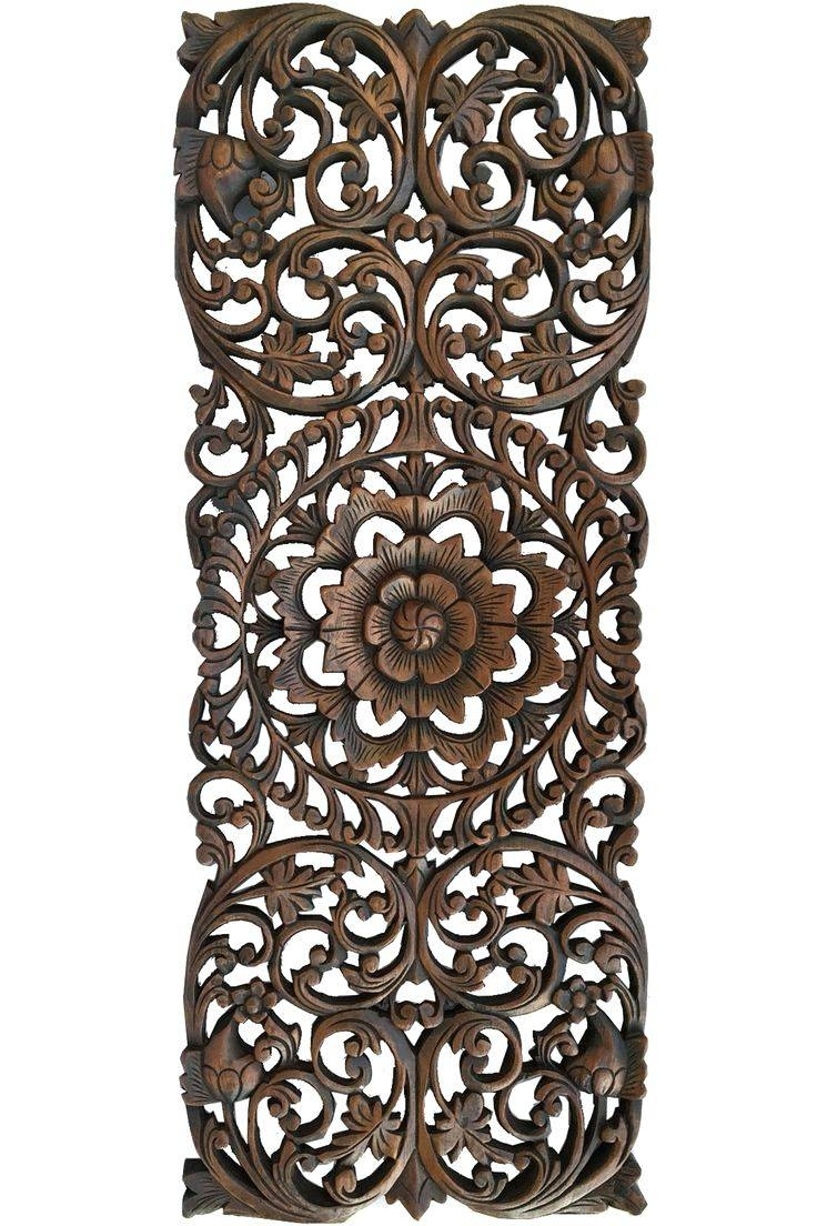 Wall Arts ~ Floral Tropical Carved Wood Wall Panel Asian Wall Art Within Recent Oriental Metal Wall Art (View 8 of 20)