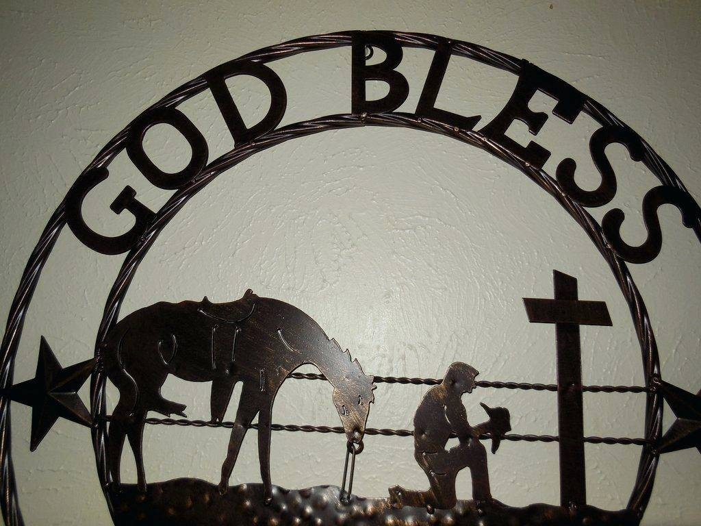 Wall Arts ~ God Bless Our Home Cowboys Prayer Church Metal Wall Throughout Most Current Cowboy Metal Wall Art (View 20 of 20)