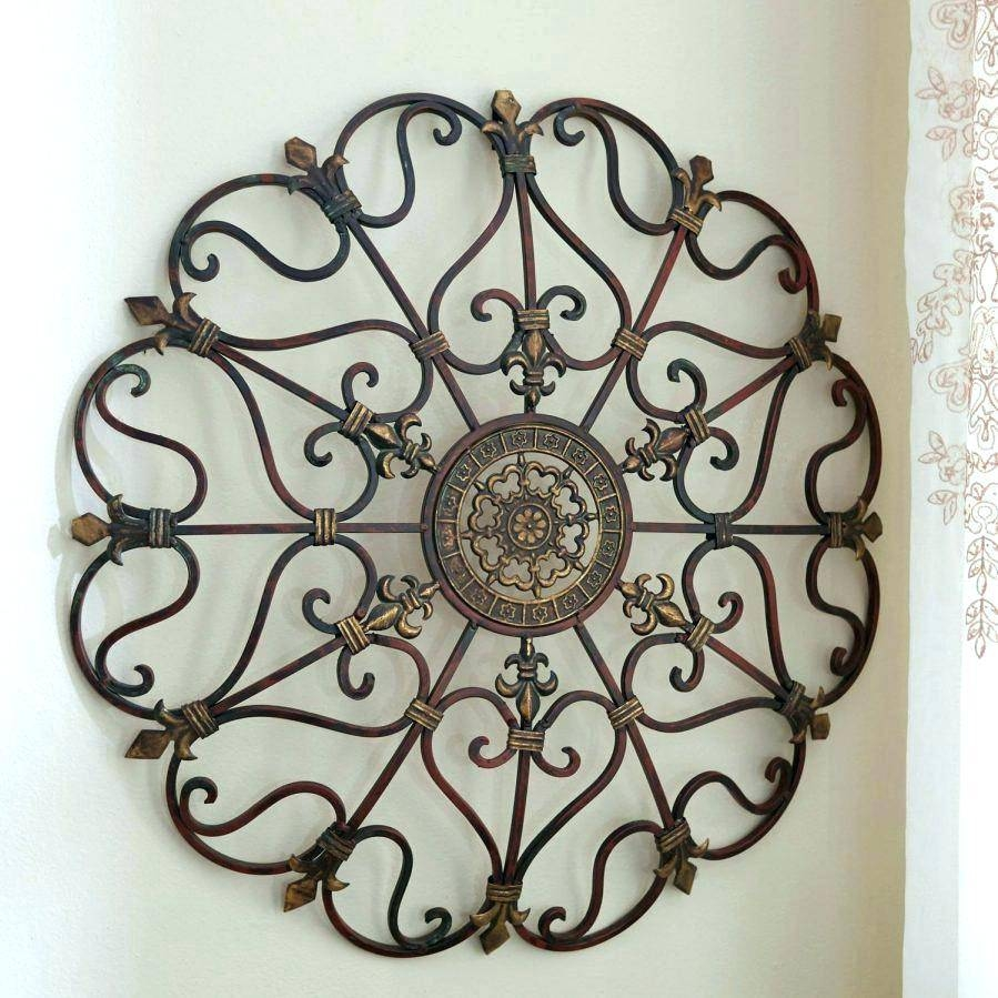 Wall Arts ~ Home Decor Stamped Circle Metal Wall Art Picture Polka Regarding Most Recent Tuscan Metal Wall Art (View 2 of 20)
