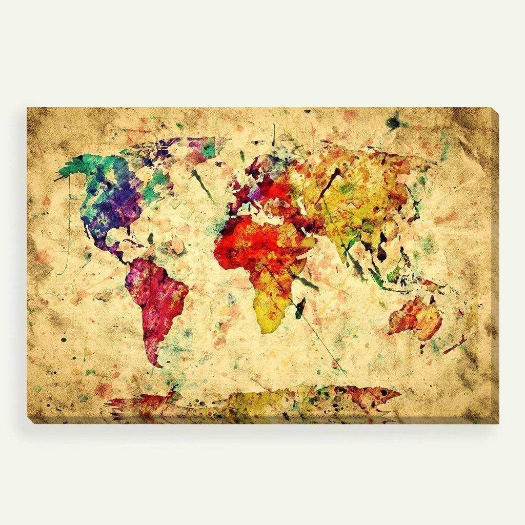 Wall Arts ~ Magnetic Vintage Litho World Map Wall Art Vintage Regarding Most Current Paris Map Wall Art (View 11 of 20)